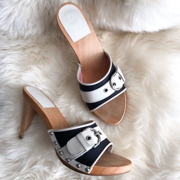 Coach Shoes - COACH Nautical Wooden Mules / Clogs in Size 7